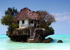 Rock Restaurant in Zanzibar Tanzania. Depending on the tide - walk up or take a boat.