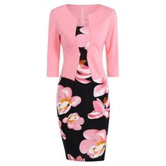 #Spring #AdoreWe #Twinkledeals - #TwinkleDeals Floral Knee Length Pencil Fitted Work Dress - AdoreWe.com