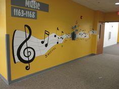 Credit: Swan Studios Inc skola Classroom Decor Themes, School Decorations, Music Classroom, School Hallways, School Murals, Music School, Art School, Band Rooms, School Displays