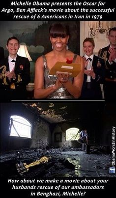 "Michelle Obama presents Oscar for movie about the successful rescue of 6 Americans in 1979 Iran. How about a movie about your husband's ""rescue"" of Americans in Benghazi?   -- How would that go, Michelle?   #Benghazi"