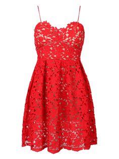 Red Crochet Lace Spaghetti Strap Skater Dress | Choies
