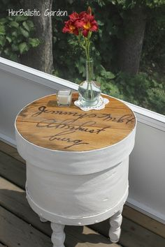 Antique cheese box side table {7/19}