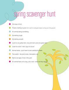 Free download : Spring Scavenger hunt! Great idea for Easter Sunday via http://mandydouglass.blogspot.com
