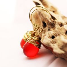 Chunky Earrings with a Lightweight Wire Wrapped Teardrop Dangle in Bright Red - pinned by pin4etsy.com