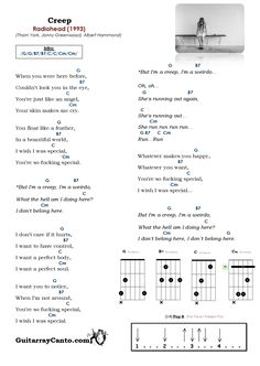 Acordes Creep Radiohead. Cómo tocar Creep de Radiohead a la Guitarra Guitar Chords And Lyrics, Ukulele Chords Songs, Guitar Chords Beginner, Easy Guitar Songs, Guitar Chords For Songs, Music Theory Lessons, Art Lessons, Creep Radiohead, Mood Songs