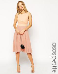ASOS PETITE Sheer & Solid Pleated Midi Dress
