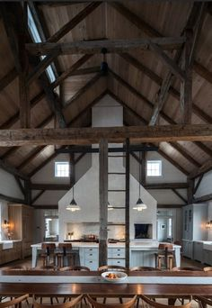 Vintage barn frame addition to Dutch stone house - rustic - kitchen - boston - KATE JOHNS AIA - Like the contrast in the ceiling wood and the beams. If you are going to expose beams, make sure you can see them. Style At Home, Casa Loft, Barndominium Floor Plans, Converted Barn, Barn Renovation, Barn Living, Living Room, Pole Barn Homes, Lofts