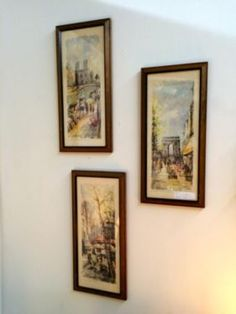 """Set of Three Parisian Scenes  21"""" Tall x 9.5"""" Wide   $30 Set of three  Rubbish Designer Vintage Finds Dealer #3501  Lucas Street Antique Mall 2023 Lucas Dr. Dallas, TX 75219  Like us on F"""
