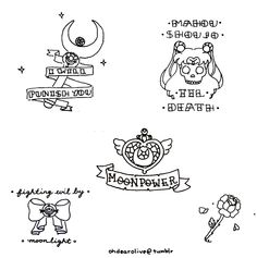 i drew some sailor moon themed traditional tattoos as a set (◡‿◡✿) i do want to colour them soon but i am very tired! i worked very hard on ...