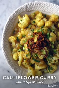 Spice things up for dinner tonight with our Cauliflower Curry with Crispy Shallots. We simmer our favorite vegetable in a Thai-inspired yellow curry, which is mild (not spicy) yet big on flavor. Serve this as a main dish over rice or as a side dish. And should there be any leftovers, the curry tastes even better the next day.