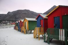 beach huts Photo: colourful beach huts and white sandy beach extending far into the distance. This Photo was uploaded by FirdousTayob Self Driving, South Africa, Beach Huts, Cabin, House Styles, Outdoor Decor, Thankful, Travel, Sun