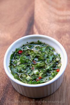 Traditional chimichurri sauce - tons of parsley from our house keeper!