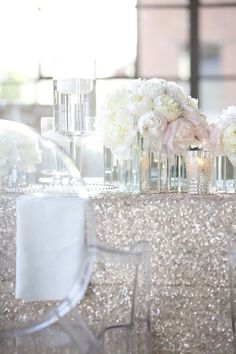 22 Super Ideas For Wedding Party Table Decorations Sequin Tablecloth Silver Centerpiece, Wedding Centerpieces, Centerpiece Ideas, Party Table Decorations, Wedding Decorations, Wedding Table Linens, Wedding Tables, Wedding Reception, Wedding Venues