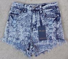B-G-NEW-Acid-Washed-High-Waist-High-Cut-Jean-Shorts-Size-S-L1-19