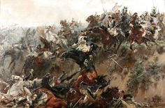 French cuirassiers tumbling into the sunken road on the ridge during Ney's Great Cavalry Attack: Battle of Waterloo on 18th June 1815