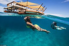 Cloud 9 is a floating restaurant just off the coast of Fiji, which servesItalian wood fire pizzas and cocktails