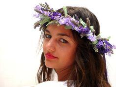 Purple flower crownLavender headpiece by BlackSwanFeather on Etsy