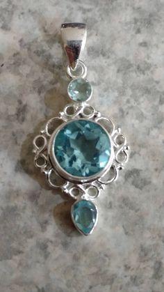 Blue Topaz Pendant Necklace by KarinsForgottenTreas on Etsy