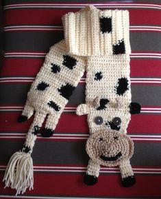 Crocheted cow scarf #crochetcow #crochetscarf #cowscarf