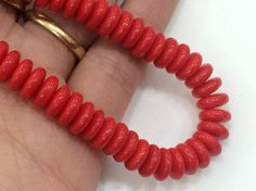 Coral Art Coral Plain Disc Beads Red Coral Art by gemsforjewels