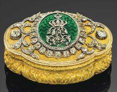 Caja francesa en oro, esmalte y diamantes. 1860.