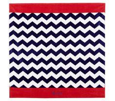 Chevron Family Beach Towel-- red, white, navy blue
