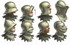 Various design and types of helmet for the Historically Wrong Sketch Series - Project WAARGH, a spin of Medieval Revisited series where instead of Women. Project WARRGH - Medieval European Helmet part 1 Medieval Helmets, Medieval Weapons, Medieval Knight, Medieval Fantasy, Armadura Medieval, Fantasy Armor, Fantasy Weapons, Larp, Landsknecht