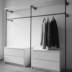 Open Wardrobe Clothes Rail Wardrobe Industrial Design Industrial Design Malleable Iron Tube Steel Pipe DIY Furniture Furniture Making Do it yourself W . Diy Wardrobe, Wardrobe Storage, Bedroom Storage, Bedroom Decor, Wardrobe Ideas, Wardrobe Clothing, Bedroom Wardrobe, Modern Wardrobe, Bedroom Ideas