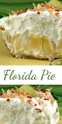 This Florida Pie is essentially a traditional key lime pie lined with a layer of coconut cream. It is brilliant because that layer of sweet creaminess really balances out the tartness of the Key lime filling. Lime Desserts, Summer Desserts, Just Desserts, Delicious Desserts, Yummy Food, Pie Recipes, Sweet Recipes, Dessert Recipes, Cooking Recipes