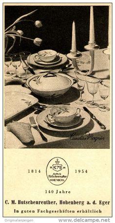 """Original-Werbung/Anzeige 1954 - HUTSCHENREUTHER PORZELLAN """"CAROLUS MAGNUS"""" / HOHENBERG / EGER - ca. 65 x 130 mm"""