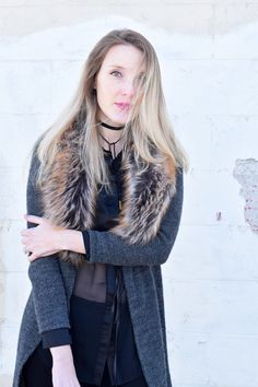 sheer blouse and fur trim cardigan - one brass fox