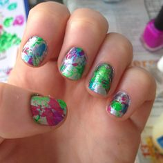 Splatter (with straws). Nails by Michelle.