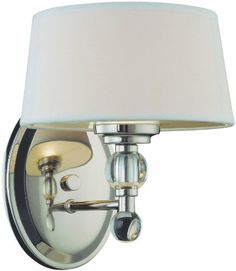$104 G9 40watt halogen bulb (what's that?!) Savoy House Lighting 8-1041-1-109 Murren Collection 1-Light Wall Sconce, Polished Nickel with White Shade Savoy House Lighting http://www.amazon.com/dp/B0038T36EC/ref=cm_sw_r_pi_dp_GNDVwb1AT7GC3