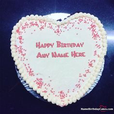 write name on Awesome Heart Shape Happy Birthday Cake For Lover picture