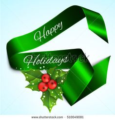 Christmas sale banner with holly berries and satin ribbon.