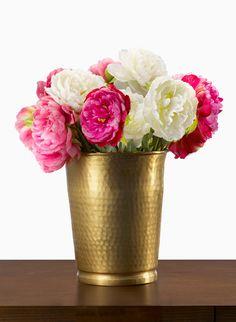 handmade hammered brass vase peonies arrangement