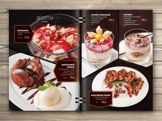 print design of menu for restaurant. Food photo, collage