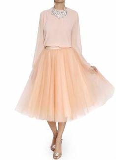 Bgo & me: Falda de tul en color cuarzo con lazada beige