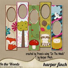 free printable bookmarks (another free woodland set available on site for a total of 8 bookmarks)