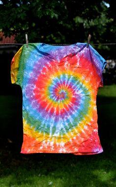 Scrub Top Unisex Men Women Tie Dye Hippie Rainbow by HappyYiayia. , via Etsy.