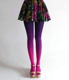 loving the bright colors on these ombre tights~! BZR Ombré tights in Electric by BZRshop on Etsy Ombre Tights, Colored Tights, Opaque Tights, Moda Popular, Fashion Mode, Womens Fashion, Stocking Tights, Tight Leggings, Purple Leggings