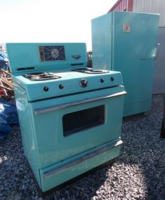 "Turquoise Stove and Refrigerator!  For more vintage, primitive, retro, mid-century, atomic items...Check out or Facebook page.  ""Like"" Anything Goes Trading Co.  We are Western Kentucky's most unique place to shop.  We ship all over the world!!"