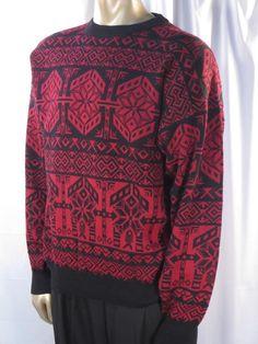 Obermeyer Mens Black Burgundy Alaska Wool Blend Ski Sweater - XL * #Obermeyer #Crewneck