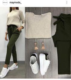 Koyu Haki ve Vizon Harika Kazak Pantolon // Kombin / Arka Haki Detay Ayakkabı // Kombini Simple Outfits, Stylish Outfits, Cute Outfits, Street Hijab Fashion, Ootd Fashion, Winter Fashion Outfits, Fall Outfits, White Shoes Outfit, Fashion Vocabulary