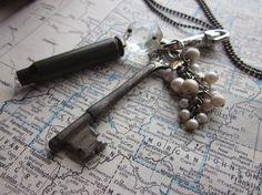 The Lila Necklace  Vintage Cluster Key Necklace by SeizeTheNight, $24.00