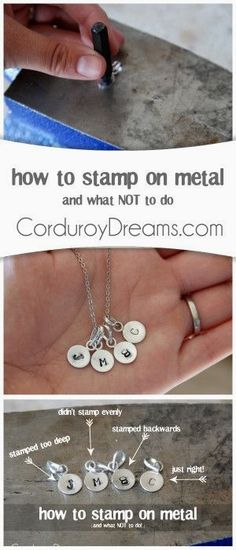 How to Stamp on Metal (and what not to do) : - DIY Jewelry Vintage Ideen Diy Jewelry Tutorials, Jewelry Tools, Wire Jewelry, Jewelry Crafts, Handmade Jewelry, Jewelry Making, Jewelery, Silver Jewelry, Jewellery Box