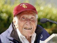 Louie Zamperini- Olympic track star, survived 47 days on a raft at sea, 2.5 years as POW in Japanese captivity, became a Christian and overcame his bitterness. True American hero and Christian hero.
