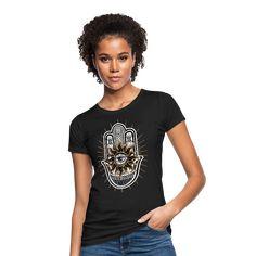 Geschenke Shop   Hamsa Yoga meditation - Frauen Bio-T-Shirt Sweat Shirt, T Shirt Sport, T Shirt Designs, Yoga Meditation, Fitness Quotes Women, Women Camping, Trends, American Football, Kind Mode