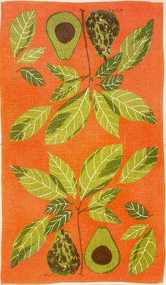 One of my personal favorites from my Vera Neumann dishtowel collection. Avocados on Orange (High-Res)