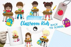 Classroom Kids pack features over 20 graphic elements and is perfect for invitations, greeting cards, product design, tags, labels and so much more.